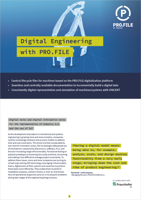 "Product description: ""Digital engineering with PRO.FILE"""